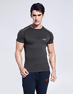 billiga Träning-, jogging- och yogakläder-Herr Rund hals T-shirt för jogging - Fuchsia, Mörkgrå, Marinblå sporter Sexig, Mode T-shirt / Överdelar Kortärmad Sportkläder Snabb tork,
