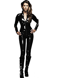 billige Sexy Uniformer-Assassin Skinnende Zentai Drakter Cosplay Kostumer Herre Dame Halloween Karneval Nytt År Festival / høytid Halloween-kostymer Drakter Svart Ensfarget Sexy Uniformer