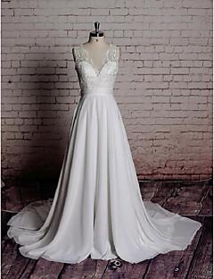 billiga A-linjeformade brudklänningar-A-linje V-hals Kapellsläp Chiffong / Spets Bröllopsklänningar tillverkade med Rosett / Applikationsbroderi av LAN TING Express
