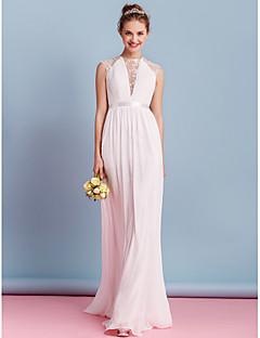 billiga Åtsmitande brudklänningar-Åtsmitande Hög hals Svepsläp Chiffong Bröllopsklänningar tillverkade med Rosett / Draperad / Spets av LAN TING BRIDE® / Genomskinliga