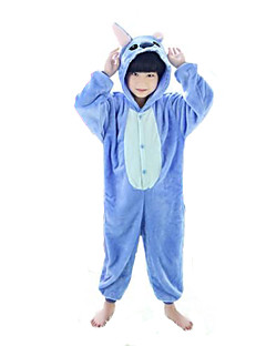 billige Kigurumi-Kigurumi-pysjamas Monster Blå Monster Onesie-pysjamas Kostume Flanell Fleece Blå Rosa Cosplay Til Barn Pysjamas med dyremotiv Tegnefilm