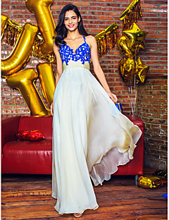 A-Line Straps Floor Length Chiffon Prom Formal Evening Dress with Appliques by TS Couture®
