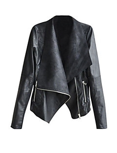 Women's Casual/Daily Street chic Spring Fall Leather Jacket,Solid Notch Lapel Long Sleeve Short PU