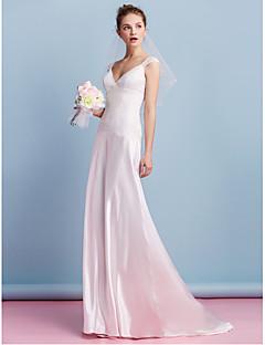 billiga Brudklänningar-Åtsmitande V-hals Svepsläp Charmeuse Bröllopsklänningar tillverkade med Spets av LAN TING BRIDE®
