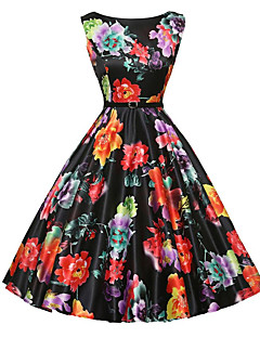 Women's Party Daily Vintage A Line Skater Dress,Floral Print Round Neck Knee-length Sleeveless Polyester Summer Mid Rise