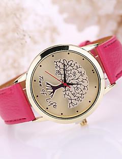 Damen Modeuhr Quartz Armbanduhren für den Alltag Leder Band Schwarz Weiß Blau Rot Braun Rosa