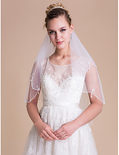 cheap Wedding Veils-Two-tier Scalloped Edge Pearl Trim Edge Wedding Veil Elbow Veils With Sequin Bead Pearls Tulle