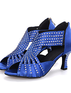 hesapli -Kadın's Latin Dans Ayakkabıları Saten Sandaletler / Topuklular Performans / Profesyonel Taşlı / Işıltılı Pullar / Fermuar Kıvrımlı Topuk