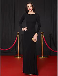 Tubinho Longo Microfibra Jersey Evento Formal Vestido com Pregas de TS Couture®