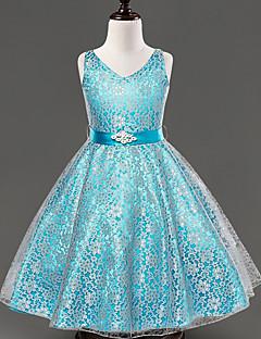 a-lijn thee lengte bloem meisje jurk - kant satijn mouwloze v-hals met lint door ydn