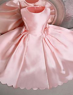 tanie Sukienki dla dziewczynek z kwiatami-Balowa Do kolan Sukienka dla dziewczynki z kwiatami - Satyna Bez rękawów Zaokrąglony z Kokardki przez LAN TING Express
