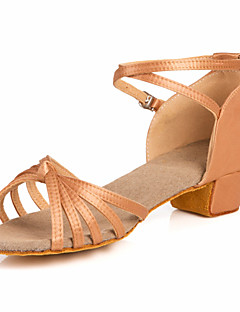 cheap -Women's Latin Shoes / Ballroom Shoes Satin Sandal Low Heel Non Customizable Dance Shoes Nude / Bronze / Kid's / Leather / Leather
