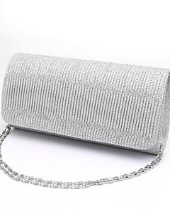 hesapli -Kadın's Çantalar Polyester Gece Çantası / Üç Kat Fırfırlı için Düğün / Davet / Parti / Resmi İlkbahar yaz Siyah / Gümüş / YAKUT / Düğün Çantaları / Düğün Çantaları
