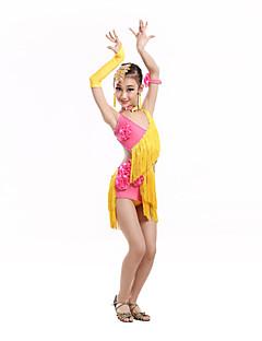 hesapli -Latin Dansı Elbiseler Çocuklar için Performans Spandeks Polyester 7 Parça Kolsuz Yüksek Elbise Eldivenler Neckwear Bileklikler Başlıklar