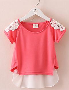 Casual/Dagelijks-Effen-Katoen-Zomer-Girl's-T-shirt-Blauw / Rood