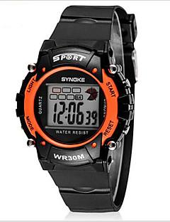billige Børneure-SYNOKE Digital Armbåndsur Sportsur Alarm Kalender Kronograf Vandafvisende LCD Selvlysende Gummi Bånd Sej Sort