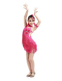 hesapli -Latin Dansı Elbiseler Çocuklar için Performans Spandeks Polyester 6 Parça Kolsuz Yüksek Elbise Başlıklar Neckwear Bileklikler