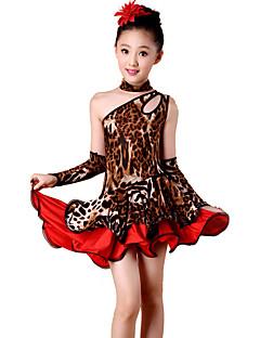Latein-Tanz Kleider Kinder Vorstellung Elastan Polyester Leopardenmuster 4 Stück Ärmellos Hoch Kleid Handschuhe Neckwear