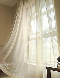 baratos Cortinas Transparentes-Sheer Curtains Shades Sala de Estar Xadrez Poli / Mistura de Algodão Jacquard