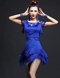 cheap Latin Dance Wear-Latin Dance Dresses Women's Performance Nylon Chinlon Lace Tassel Short Sleeve High Dress