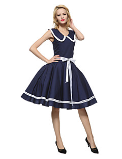 cheap Vintage Dresses-Women's Vintage Cotton Loose Sheath Skater Dress - Solid Colored Blue, Bow Pleated Low Rise Crew Neck Peter Pan Collar
