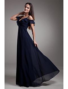 저렴한 특별한 이벤트 드레스-A-라인 스파게티 스트랩 바닥 길이 쉬폰 포멀 이브닝 드레스 와 주름 으로 LAN TING Express