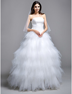 cheap Ball Gown Wedding Dresses-Ball Gown Strapless Sweep / Brush Train Tulle Custom Wedding Dresses with Tiered Ruched by LAN TING BRIDE®