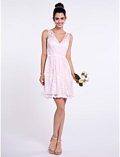 tanie Romantyczny róż-Krój A W serek Krótka / Mini Koronka Sukienka dla druhny z Koronka przez LAN TING BRIDE®