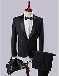 Black Solid Slim Fit Polyester Viscose Suit - Shawl Collar Single Breasted One-button
