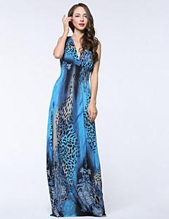 Χαμηλού Κόστους SWEET CURVE-Γυναικεία Μεγάλα Μεγέθη Μπόχο Swing Φόρεμα Πλισέ Στάμπα Μακρύ Ψηλοκάβαλο Βαθύ V