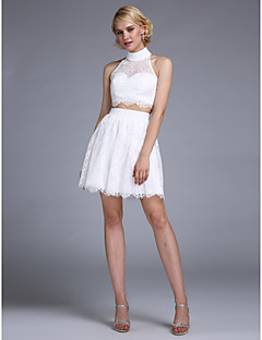 A-Line Halter Short / Mini Lace Homecoming Prom Dress with Beading Buttons by TS Couture®