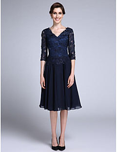 cheap -Sheath / Column V Neck Knee Length Chiffon Sheer Lace Mother of the Bride Dress with Lace by LAN TING BRIDE®