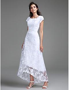 billiga Åtsmitande brudklänningar-Åtsmitande Prydd med juveler Asymmetrisk Heltäckande spets Bröllopsklänningar tillverkade med Spets av LAN TING BRIDE®