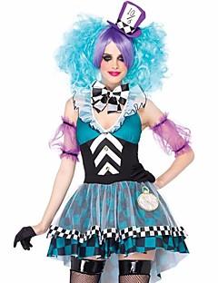 billige Halloweenkostymer-Alice in Wonderland Eventyr Cosplay Kostumer Dame Film-Cosplay Blå Kjole Hatt Halloween Karneval polyester