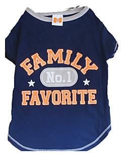 billiga Hundkläder-Hund T-shirt Hundkläder Stjärnor / Bokstav & Nummer Vit / Blå Cotton Kostym För husdjur Sommar