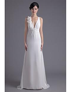 billiga Brudklänningar-Åtsmitande Dunkel halsringning Svepsläp Chiffong Bröllopsklänningar tillverkade med Blomma av LAN TING BRIDE® / Vacker i svart