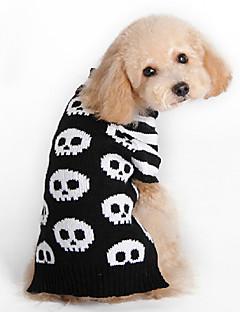 billiga Hundkläder-Katt Hund Tröjor Hundkläder Dödskalle Svart Ull Kostym För husdjur Herr Dam Mode Halloween