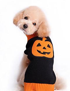 billiga Hundkläder-Katt Hund Tröjor Hundkläder Pumpa Svart Cotton Kostym För husdjur Herr Dam Gulligt Halloween