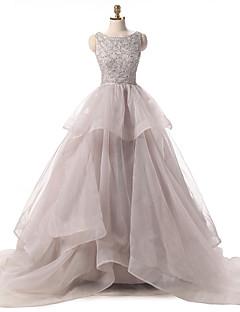 נשף שובל קורט אורגנזה ערב רישמי שמלה עם קפלים מדורגים נצנצים על ידי Shang Shang Xi