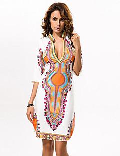 Χαμηλού Κόστους Print Dresses-Γυναικεία Μεγάλα Μεγέθη Εξόδου Μπόχο Θήκη Φόρεμα Στάμπα Πάνω από το Γόνατο Βαθύ V / Καλοκαίρι