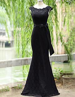 economico Vestiti da sera-Vestito da sera del merletto di lunghezza del pavimento della sirena / tromba della sirena con il nastro