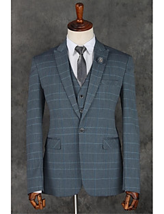 Gray Stripes Slim Fit Polyester Suit - Notch Single Breasted One-button