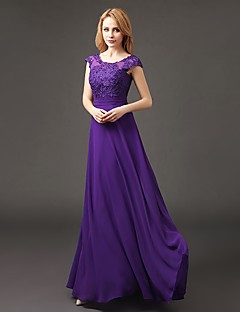 A-Line Scoop Neck Floor Length Chiffon Bridesmaid Dress with Appliques by LAN TING BRIDE®
