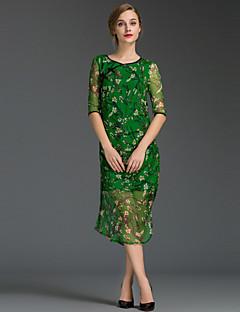 Χαμηλού Κόστους Γυναικεία Φορέματα-Γυναικεία Εξόδου Απλό Θήκη Φόρεμα,Φλοράλ ½ Μανίκι Στρογγυλή Λαιμόκοψη Μίντι Κόκκινο Πράσινο Κίτρινο Μετάξι Καλοκαίρι Κανονική Μέση