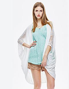 Damen Solide Einfach Ausgehen Kimonojacke,Rundhalsausschnitt Sommer ½ Länge Ärmel Lang Baumwolle Elasthan