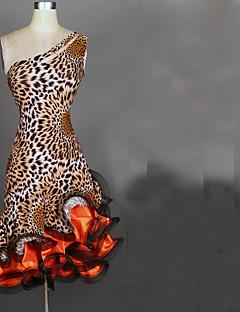 baratos Roupas de Dança Latina-Dança Latina Vestidos Mulheres Espetáculo Elastano / Cetim Chifom Fru-Fru Sem Manga Alto Vestido