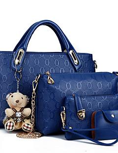 hesapli -Kadın's Çantalar PU Tote Kapak 4 Adet Çanta Seti için Alışveriş Günlük Resmi Ofis ve Kariyer Tüm Mevsimler Fuşya Sarı Kırmzı Mavi Açık