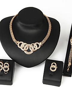 voordelige Schoolreüniejurken & accessoires-Dames Bib kettingen Sieraden set - Afrika omvatten Ketting Oorbel Armband Zilver / Gouden Voor Bruiloft Feest Dagelijks / Ring / Ringen / Oorbellen / Kettingen
