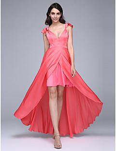 Linia -A Gât V Asimetric Șifon Satin Bal Seară Formală Rochie cu Eșarfă/Panglică de TS Couture®