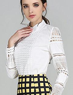 婦人向け カジュアル/普段着 春 シャツ,プラスサイズ / ストリートファッション シャツカラー ソリッド ホワイト ポリエステル 長袖 薄手